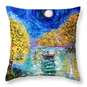 Moonlight Fishing Throw Pillow