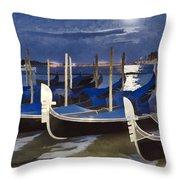 Moonlight Gondolas - Venice Throw Pillow