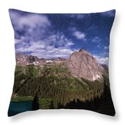 Moonlight Hiking On The Blue Lakes Trail Throw Pillow