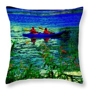 Moonlight Kayak Ride Along The Coastline Of The Lachine Canal Quebec Sea Scenes Carole Spandau Throw Pillow