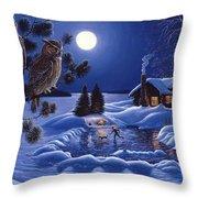 Moonlight Magig-great Horned Owls Throw Pillow