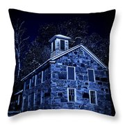 Moonlight On The Old Stone Building  Throw Pillow by Edward Fielding