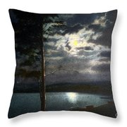 Moonlight On Yellowstone Lake Throw Pillow