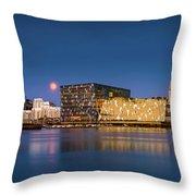 Moonlight Over Reykjavik Harbor Throw Pillow