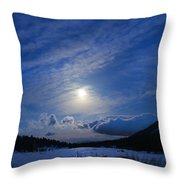 Moonlight Over Tahoe Meadows Throw Pillow