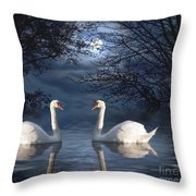 Moonlight Swim Throw Pillow