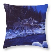Moonlight Visitors Throw Pillow