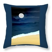 Moonlight Walk At Low Tide Throw Pillow