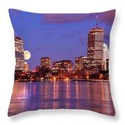Moonlit Boston On The Charles Throw Pillow