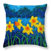 Moonlit Daffodils  Throw Pillow