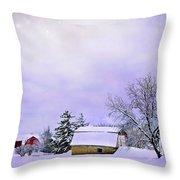 Moonlit Farm Throw Pillow