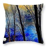 Moonlit Frosty Limbs Throw Pillow