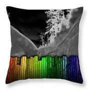 Moonlit Mountainside Behind Rainbow Fence Throw Pillow