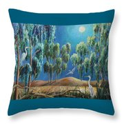 Moonlit Perch Throw Pillow