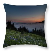 Moonlit Rainier Meadows Sunset Throw Pillow