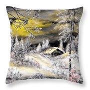 Moonlit Snow Throw Pillow