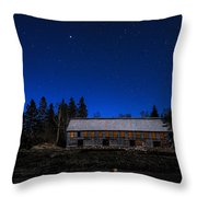 Moonlit Starscape At The Old Smokehouse Throw Pillow