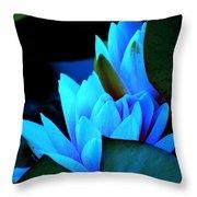 Moonlit Waterlilies Throw Pillow