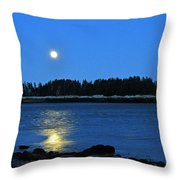 Moonrise Acadia National Park Throw Pillow