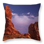 Moonrise At Balanced Rock Arches National Park Utah Throw Pillow