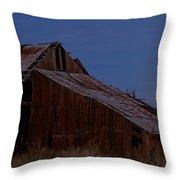 Moonrise Over Decrepit Barn Throw Pillow