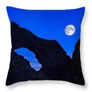 Moonrise Over North Window Arch Throw Pillow