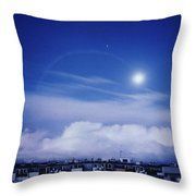 Moonrise Over Nova Harfa Throw Pillow
