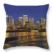 Moonrise Over River Thames Flowing Past Canary Wharf Throw Pillow