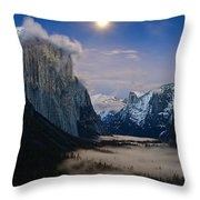 Moonrise Over Yosemite National Park Throw Pillow