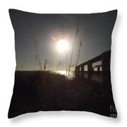Moonrise With Boardwalk 2 Throw Pillow