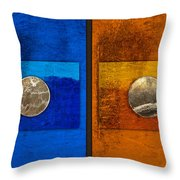 Moons On Blue And Gold Throw Pillow