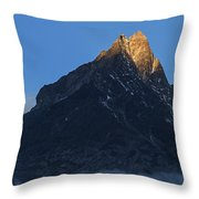 Moonset And Alpenglow Over A Snow Peak Throw Pillow