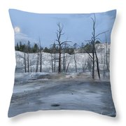 Moonset At Mammoth Terrace-yellowstone Throw Pillow