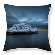 Moonset Before Sunrise The Lutsen Rock Throw Pillow