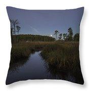 Moonset Over Bon Secour Bayou Throw Pillow