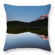 Moonset Over Rainier Throw Pillow
