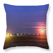 Moonset Over The Vla Throw Pillow