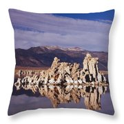 Moonset Over Tufa Throw Pillow