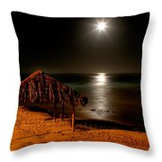 Moonset Over Windnsea Throw Pillow