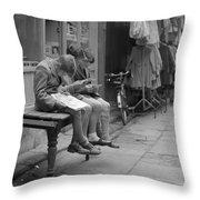 Boys Reading Comics In Moore Street Dublin Throw Pillow