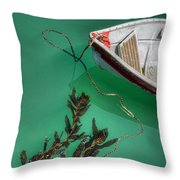 Moored Boat And Kelp Throw Pillow