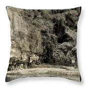 Moored Boat By The River In Tam Coc Throw Pillow