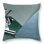 Moored Ships Bow With Retracted Anchor Abstract Throw Pillow
