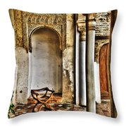 Moorish Chair And Alcove At The Alhambra Throw Pillow