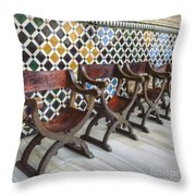 Moorish Tile Work At The Alhambra Throw Pillow