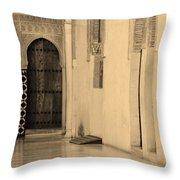 Moorish Walkway In Sepia At The Alhambra Throw Pillow