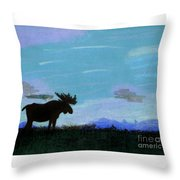 Moose - At - Sunset Throw Pillow