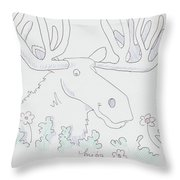 Moose Cartoon Throw Pillow