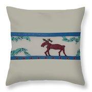 Moose Coming Home For Christmas Throw Pillow