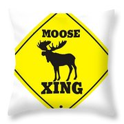 Moose Crossing Sign Throw Pillow